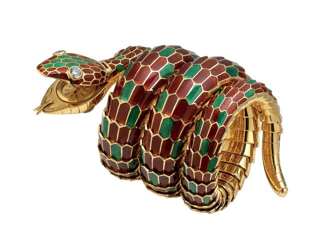 "<p>""Snake"" bracelet-watch in gold with red and green enamel and diamonds, ca. 1965. Bulgari Heritage Collection</p>"