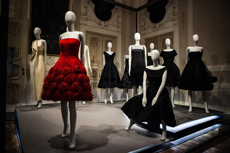 <p>Installation image of Bellissima: Italy and High Fashion 1945-1968 at the Villa Reale in Monza, Italy. Photo by Luca Palmer</p>
