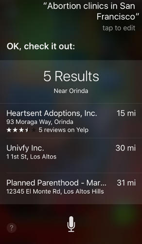 <p>In San Francisco, Siri consistently directed users to Heartsent Adoptions rather than to Planned Parenthood.</p>