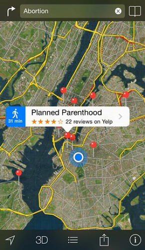 <p>A later search in <em>Fast Company</em>'s offices in Manhattan directed users to Planned Parenthood.</p>