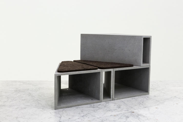 <p>Levenbetts, a New York architecture firm founded in 1997 decomposed a cube into four smaller asymmetrical modules and used them to built a chair/ottoman.</p>