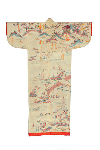 <p>Kimono for a woman (kosode). Eight views of Ōmi and scattered characters.<br /> Plain weave crepe silk (chirimen); freehand paste resist dyeing (yūzen) and 				embroidery in silk and metallic threads. <br /> Edo period, 1740–60. 163.0 x 125.0 cm, KX220</p>