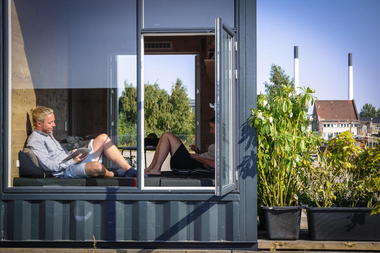 <p>The new student homes are built from shipping containers, because they're designed to move and so the designers can use only upcycled materials.</p>