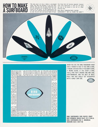 <p>Advertisement, Bing Surfboards, 1963</p>