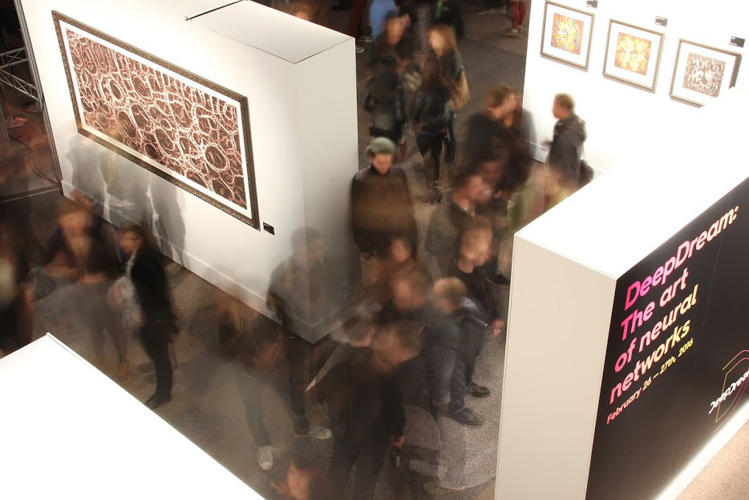 <p>Visitors to the exhibit, at San Francisco gallery Gray Area.</p>