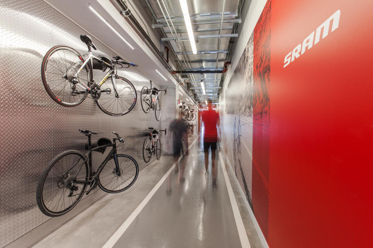 <p>Bikes are prominently displayed throughout—a testament to SRAM's products and company culture.</p>