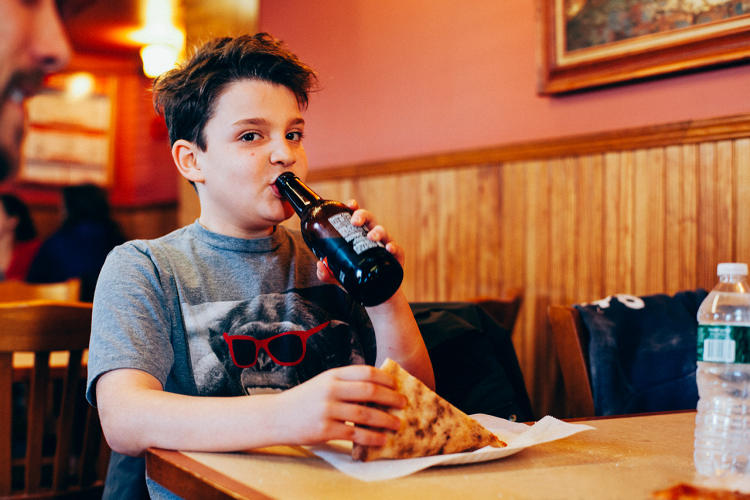 <p>Nicholas eating at Louie and Ernies in Schuylerville in the Bronx</p>