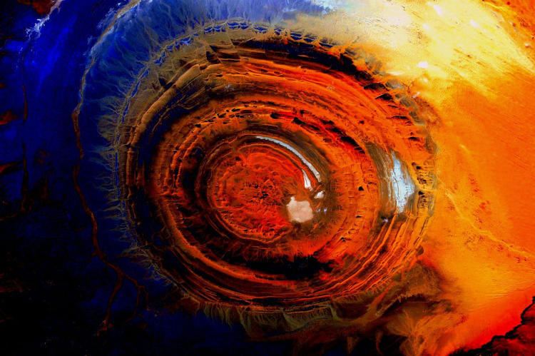 <p>The Richat Structure, in Mauritania</p>