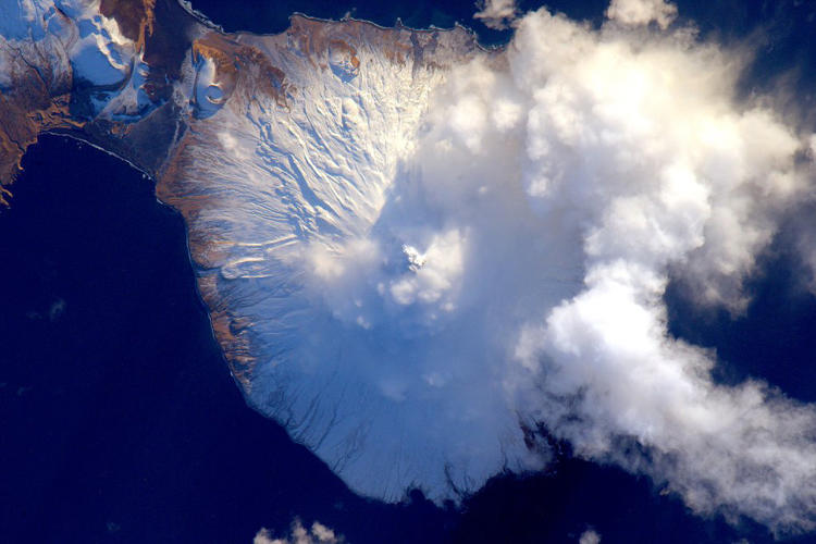 <p>A volcano on the Aleutian Islands</p>