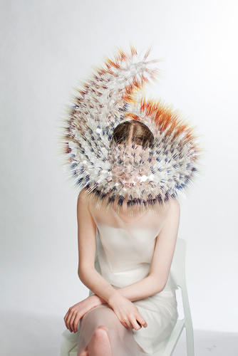 <p>Maiko Takeda (Japanese, b. 1986); Atmospheric Reentry series, 2013–14; Acetate films, acrylic discs, rhodium-plated metal jumprings, plastic base, fabric-covered metal wire</p>