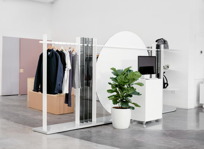 <p>Everlane's new permanent showroom is inside of their open plan San Francisco offices.</p>