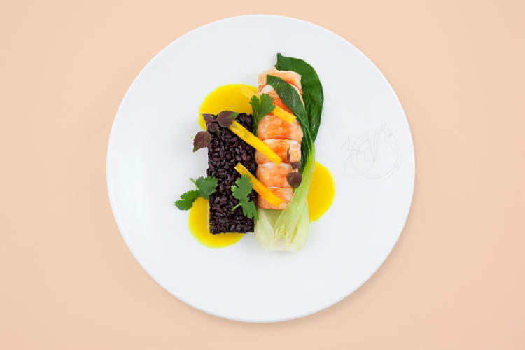 <p>Atlantic lobster, curried coconut sauce, and bok choy—Air France</p>