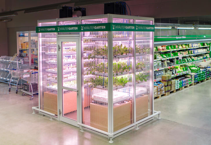 <p>Infarm says its modular boxes are so efficient that it can finally make vertical farming affordable on a micro scale.</p>