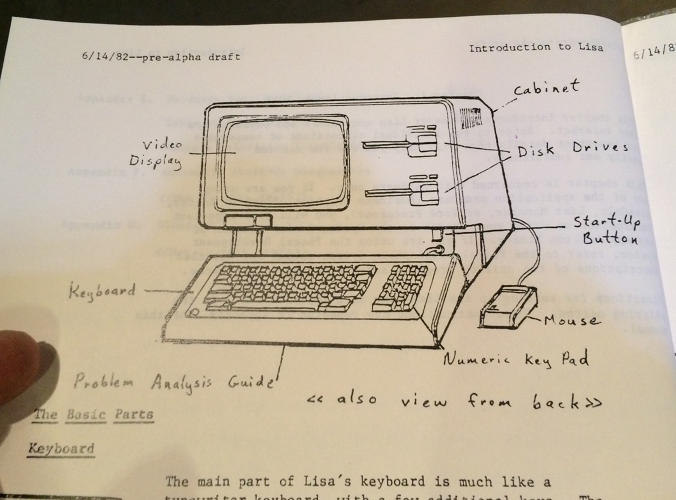 <p>A diagram of Apple's Lisa computer from a draft of the Lisa user's guide.</p>