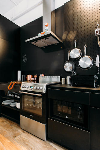 <p>Each apartment comes with its own kitchen. There are also fully-equipped share kitchens in each &quot;neighborhood,&quot; or set of floors.</p>