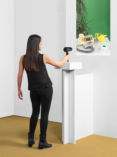 <p>ECAL/Adrien Kaeser &amp; Corentin Vignet<br /> This hairdryer reaches an insanely hot virtual temperature, frying objects in front of it.</p>