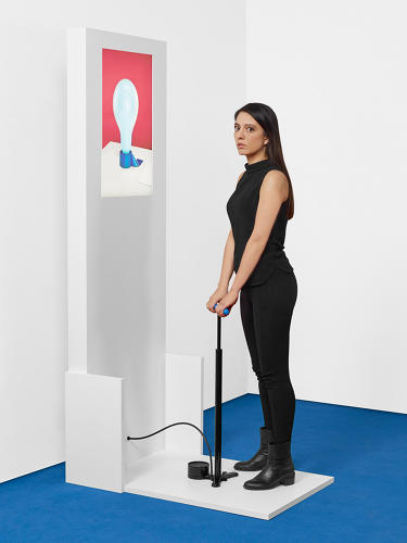 <p>ECAL/Pierre Allain-Longval &amp; Mathilde Colson<br /> A connected bicycle pump allows you to interact in a virtual scene.</p>