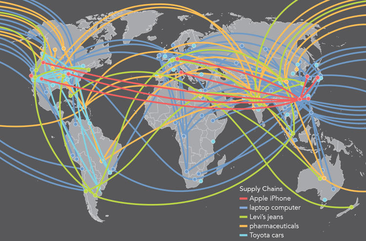 <p>Multinational corporations are gaining power. This map shows how their supply chains connect the world--and how they are becoming more distributed.</p>