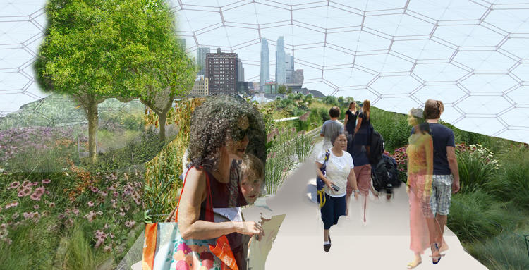 <p>The Swale will be a lush, natural-looking food forest that floats down the Hudson River in a barge.</p>