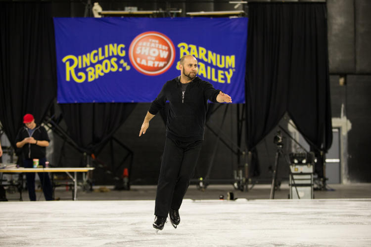 <p>Like other performers, Davis Vassallo, a third-generation clown, is learning how to skate for the new show.</p>