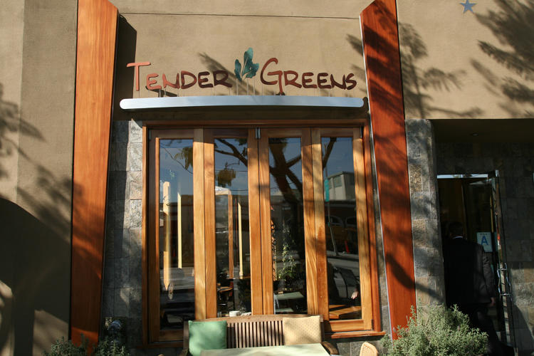 <p>On the patio of a Tender Greens restaurant on Sunset Boulevard in L.A., tall white towers sprout ingredients for the daily special.</p>