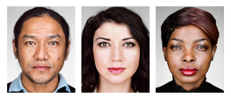 <p>New York, New York, 2016: New Americans—Portraits of refugees who have recently resettled in the United States as part of the U.S. Refugee Admissions Program. From left to right: Bhimal, 42, Bhutan; Maryna, 27, Belarus; Patricia, 22, Democratic Republic of the Congo. ©Martin Schoeller</p>