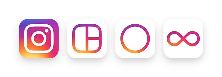 <p>The logo extends to a family of icons for Instagram's creativity apps: Layout, Hylerlapse, and Boomerang. Each symbolizes what the app does.</p>