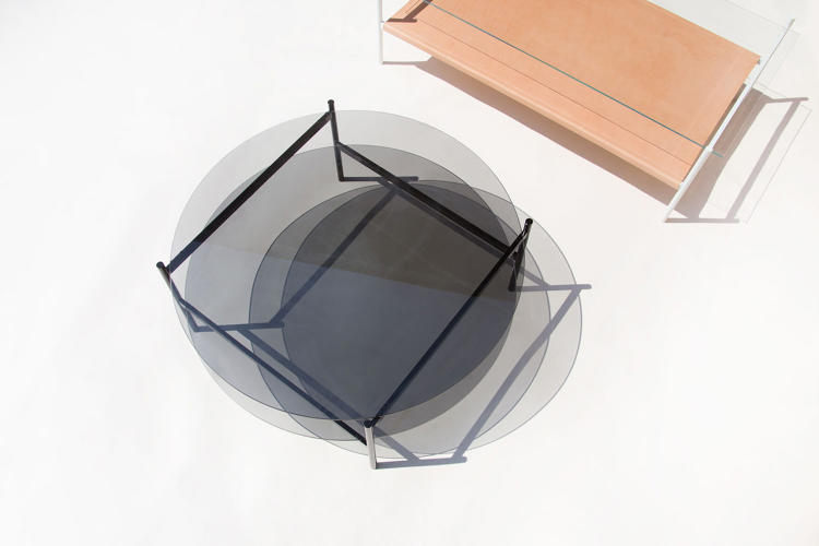 <p>The metal and glass Duotone tables are the studio's foray into furniture. They worked with local aerospace machinist to produce the line.</p>