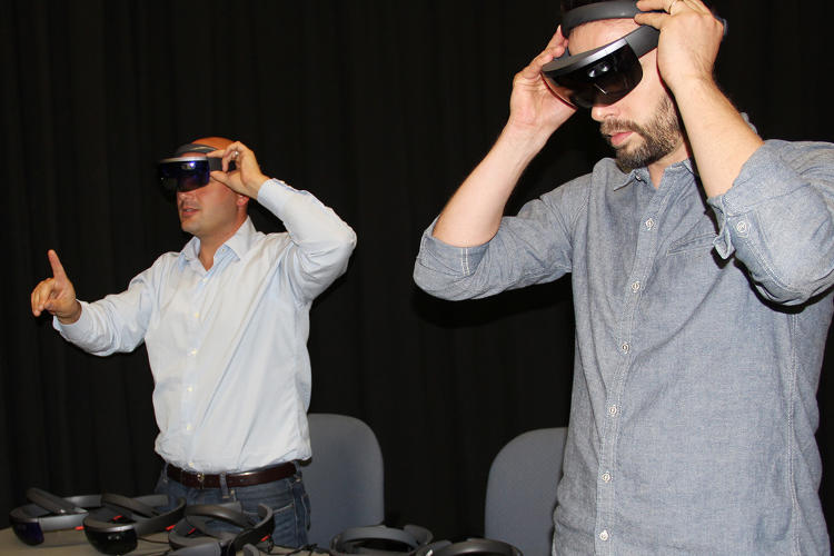 <p>ProtoSpace demo by producer Marty Vona (left) and design lead Matt Clausen.</p>