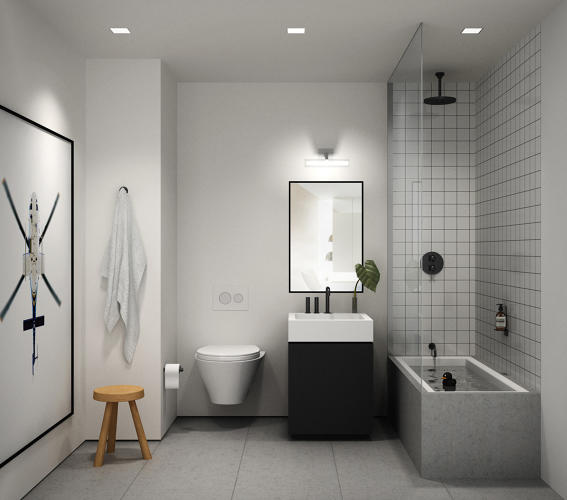 <p>Bathrooms in the apartments sport ASH's modern sensibility.</p>