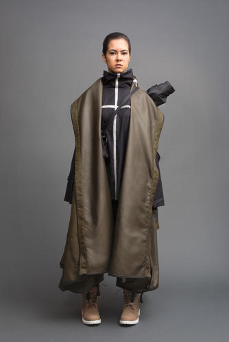<p>By transforming into a tent, this jacket provides warmth and shelter.</p>