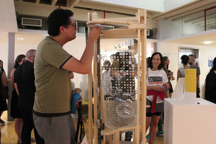 <p>Nt10: Visitor interacting with Elaine Khuu and Andrew Bogaard's piece.</p>