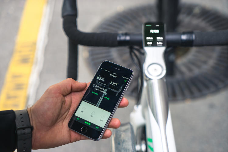 <p>Instead of a bell, the bike has an electronic horn—at 96 decibels, as loud as some train horns, and loud enough to be heard inside a car.</p>