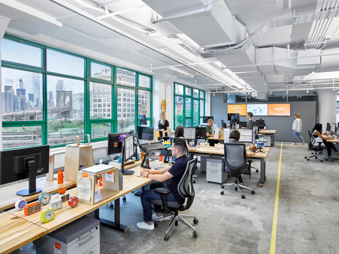 <p>The local design firm <a href=&quot;http://partsandlaborworkshop.com/&quot; target=&quot;_blank&quot;>First Third</a> built the workstations in the office.</p>