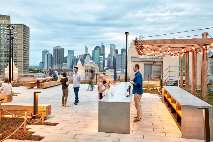 <p>The rooftop offers sweeping views of Manhattan and Brooklyn. It's planted with native species and also holds a solar array.</p>