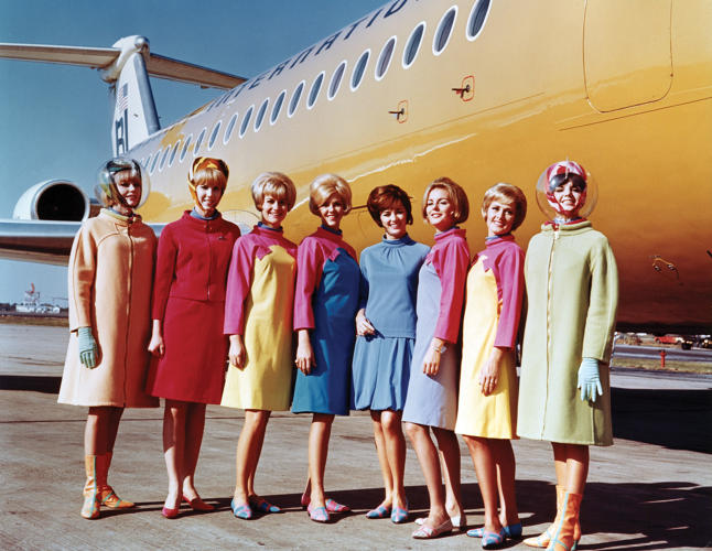 <p>Braniff International Airways hostesses in uniforms by Emilio Pucci, 1965</p>