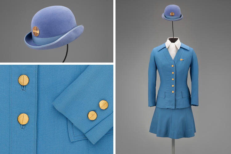 <p>Pan American World Airways stewardess uniform by Frank Smith for Evan-Picone, 1971</p>
