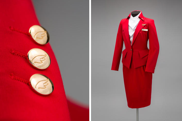 <p>Virgin Atlantic Airways female flight attendant uniform by Vivienne Westwood, 2014</p>