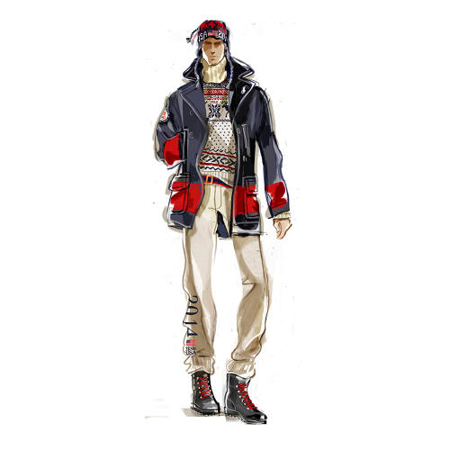 <p>A sketch of a men's pea coat from the 2012 Sochi Olympics closing ceremony</p>