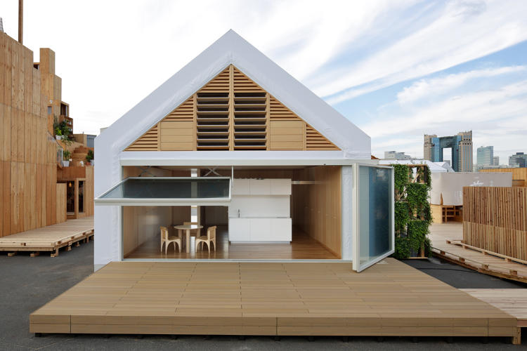 <p>The building material company Lixil and Shigeru Ban created a house with plumbing overhead instead of under the floor, giving greater flexibility of layout.</p>