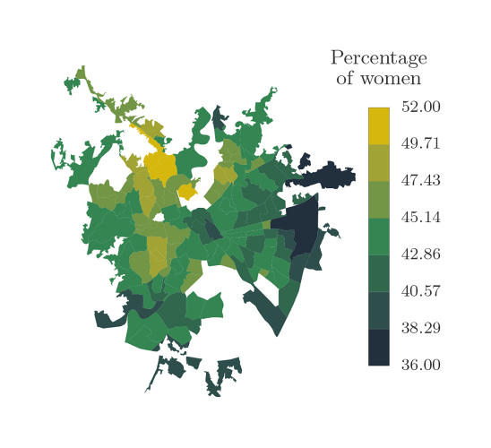 <p>The percentage of activity amongst women in the city.</p>