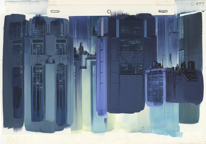 <p>Background for Ghost in the Shell (1995), cut 477 Gouache on paper and acrylic on transparent film. Illustrator: Hiromasa Ogura</p>