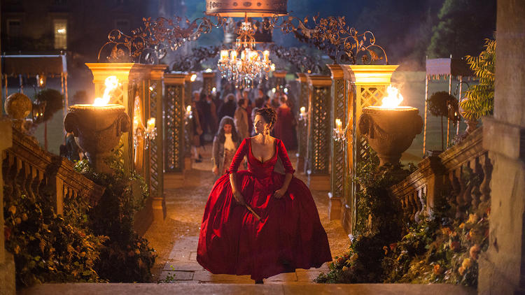 <p>Bright red was reserved for this dress and the Redcoats. All other reds were muted.</p>