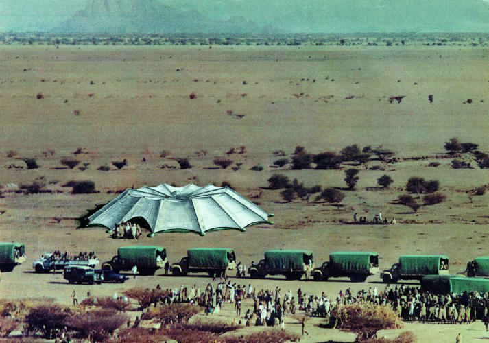 <p><em>Shelter,</em> designed by Future Systems in 1985, responded to the 1984 famine in Ethiopia with an umbrella-shaped emergency shelter fit 190 people.</p>