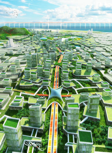 <p>The highway is designed to wind back and forth around buildings.</p>