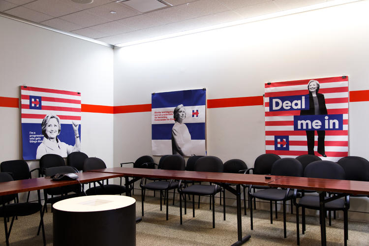 <p>A conference room in campaign headquarters shows off some designs from earlier in the campaign.</p>