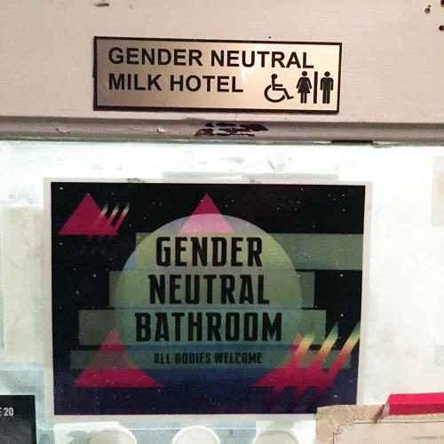 <p>Signage for the bathroom in Pinhook Bar in Durham, North Carolina, cheekily plays off the band Neutral Milk Hotel.</p>