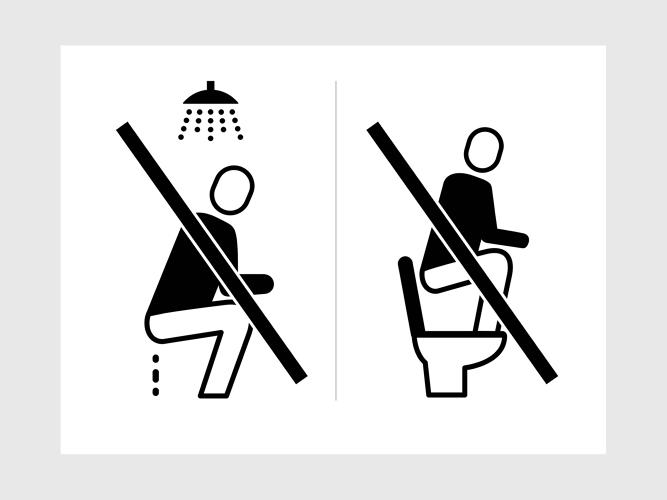 <p>Icons instructing bathroom etiquette. Designers worked with translators, refugees and camp administrators to make a set of icons that met their needs.</p>