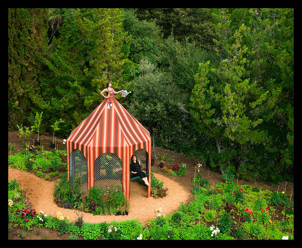 <p><em>Edible Garden Dress Tent (Gazebo with Edible Garden installed in Saratoga, CA at Montalvo Arts Center)</em>, 2011.</p>