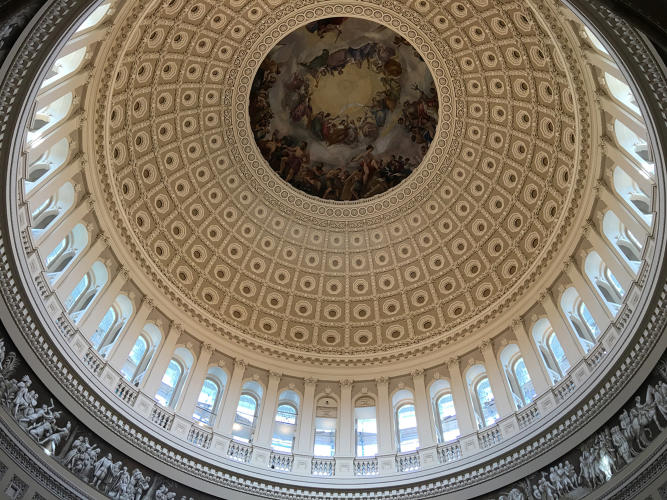 <p>The Capitol Rotunda shot with the iPhone 6 Plus camera produces a dramatically different color output, and one that's less like what you see with your own eyes looking up at the painting from below.</p>